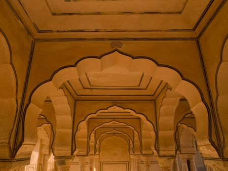 amber fort: Interior wall in Amber Fort, Jaipur, India
