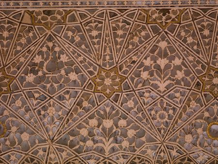 jaipur: Interior wall in Amber Fort, Jaipur, India