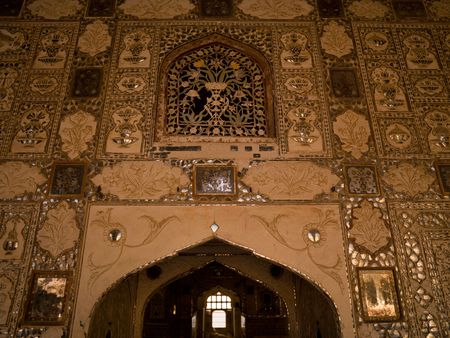 Interior wall in Amber Fort, Jaipur, India photo