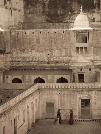 amber fort: Looking down into Amber Fort, Jaipur, India Stock Photo
