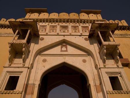ccedil: Exterior wall of Amber Fort, Jaipur, India