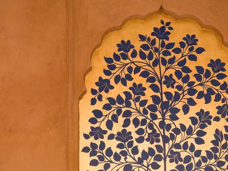 아그라, 인도의 벽에 그린 꽃 벽화