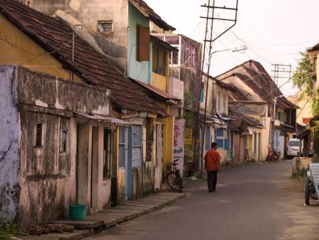 Street scene in Jewtown, Cochin, Kerala, India Stockfoto