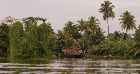 backwater: Boat on backwater, Kerala, South India