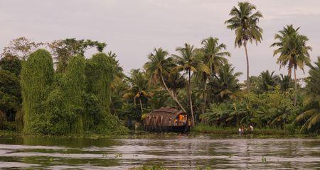 Boat on backwater, Kerala, South India