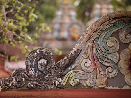 levit: Carving on exterior of Hindu Temple  Kerala India Stock Photo