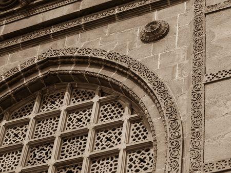 Ornate design on exterior of building in Mumbai India