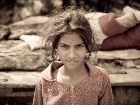 Young gypsy girl in India  写真素材