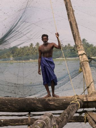 india fisherman: Fisherman in India Stock Photo