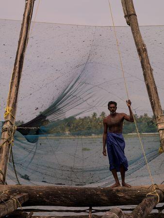 india fisherman: Fisherman in India Stock Photo