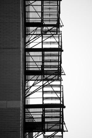 escape: Fire escape outside building in Chicago Stock Photo