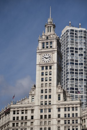 magnificent mile: Chicago, Wrigley Building Stock Photo