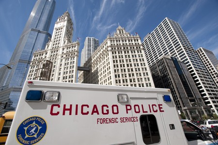 michigan avenue: Chicago Police Van on  Michigan Avenue Stock Photo