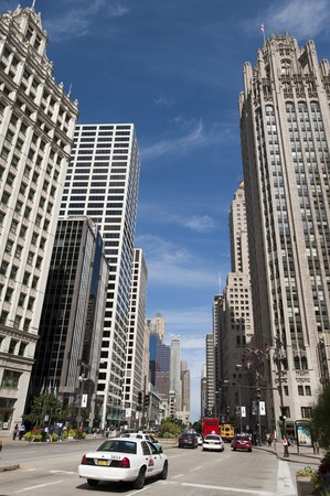 michigan avenue: Street view of  Michigan Avenue in Chicago Stock Photo