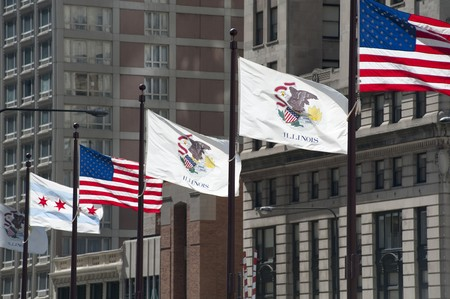 Flags along Michigan Avenue in Chicago photo