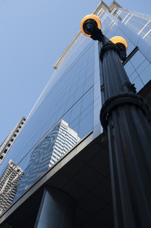Street lamp outside a Chicago Building