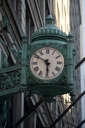 timekeeping: Antique clock in downtown Chicago