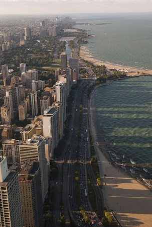lake shore drive: Aerial view of Chicago, Lake Shore Drive