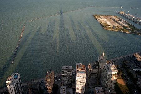 Aerial view of Chicago coastline and Lake Michigan Stock Photo