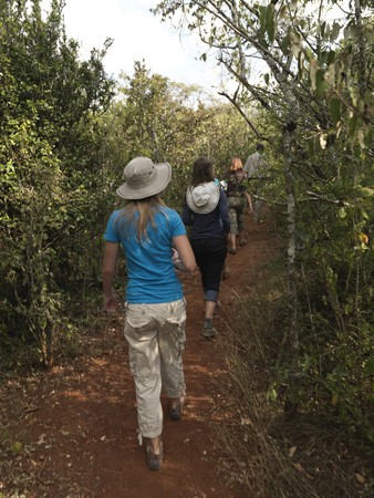 people: People hiking in Kenya Africa