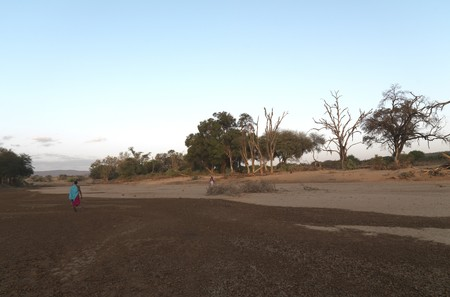 Dried riverbed in Kenya Africa photo