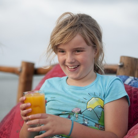 9 year old girl: 9 year old girl smiling at camera Stock Photo