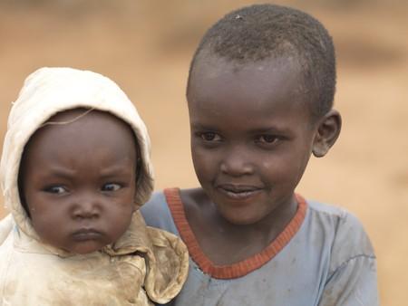 African children in Maasai Village, Africa Editöryel