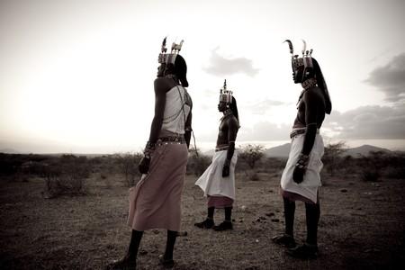 Kenyan people in tribal attire