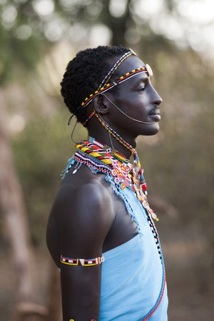 Kenyan man in tribal attire Editorial