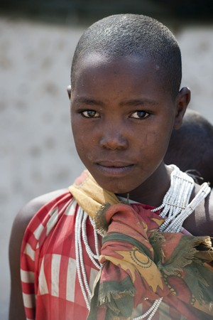 Kenyan child in tribal attire