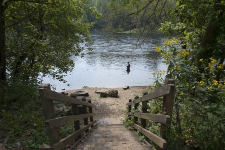 missouri: Fly fishing at lake Taneycomo  in Branson, Missouri Stock Photo