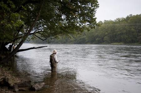 america countryside: Man fly fishing at lake Taneycomo in Branson, Missouri