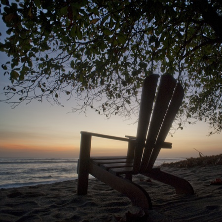 emptiness: Empty chair on the Costa Rica seashore