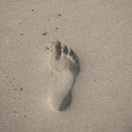 Footprint in the sand along shoreline in Costa Rica