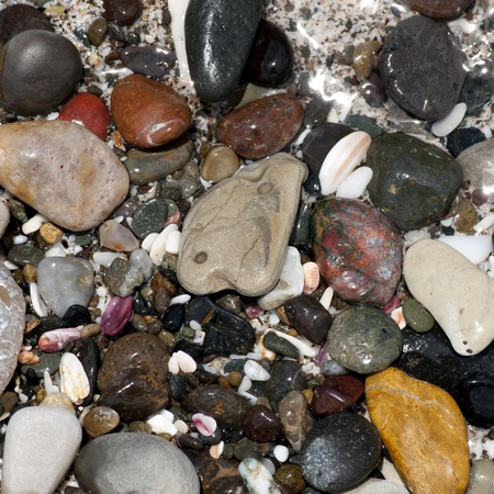 Coloured stones and pebbles along the shoreline in Costa Rica photo