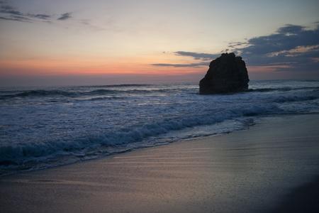 nightfall: Seascape along Mal Pais coastline in San Jose Costa Rica