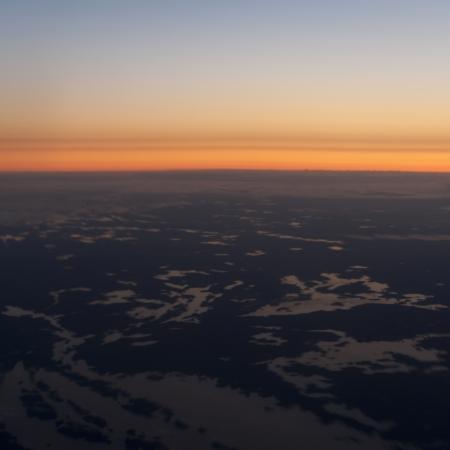Panoramic view of tundra landscape at dusk, Churchill, Manitoba, Canada Imagens