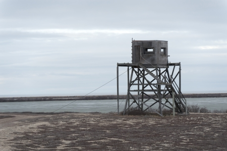 Observation hut on the beach, Churchill, Manitoba, Canada photo