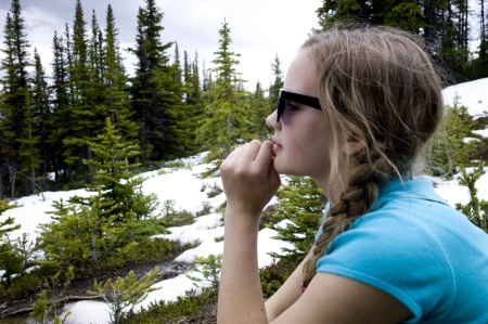 getting away from it all: Girl at Bald Hills Trail, Jasper National Park, Alberta, Canada