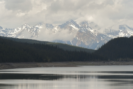Maligne Lake with mountains in the background, Jasper National Park, Alberta, Canada photo