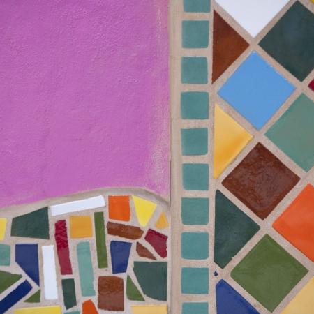 塗られた壁、Sayulita、ナヤリット、メキシコのクローズ アップ 写真素材