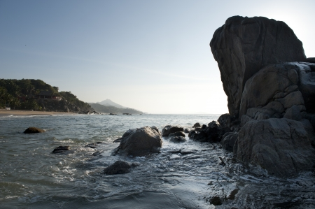 Rock formation at the coast, Sayulita, Nayarit, Mexico photo