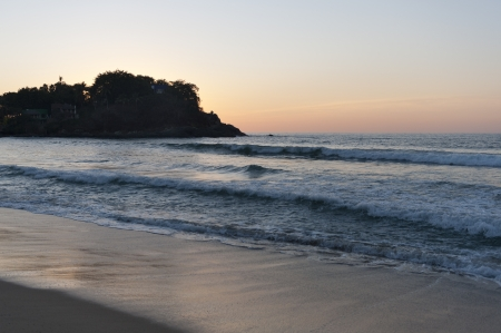 cliff edge: Waves on the beach, Sayulita, Nayarit, Mexico
