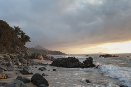 rock formation: Rock formation at the coast, Sayulita, Nayarit, Mexico Stock Photo