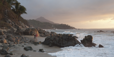 Rock formations on the coast, Sayulita, Nayarit, Mexico photo