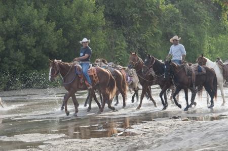 only men: Cowboys riding horses on the beach, Sayulita, Nayarit, Mexico