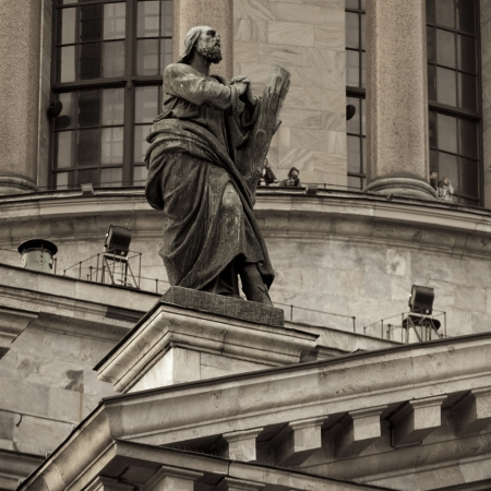 Low angle view of a statue at Saint Isaacs Cathedral, St. Petersburg, Russia photo