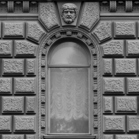 likeness: Low angle view of a window of a building, St. Petersburg, Russia Stock Photo