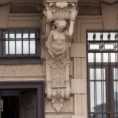 likeness: Carving details on the wall of a building, St. Petersburg, Russia Stock Photo