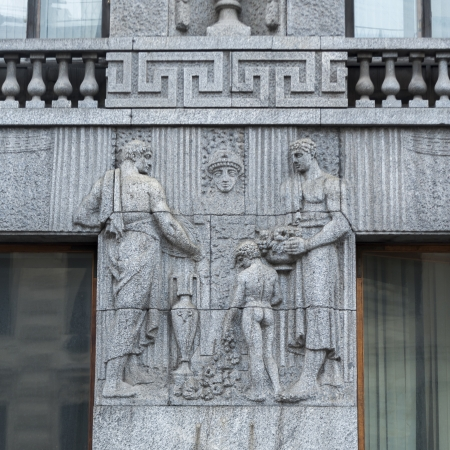 Carving details on the wall of a building, St. Petersburg, Russia photo